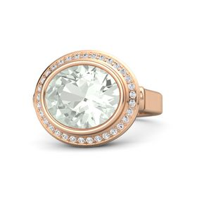 Oval Green Amethyst 14K Rose Gold Ring with White Sapphire
