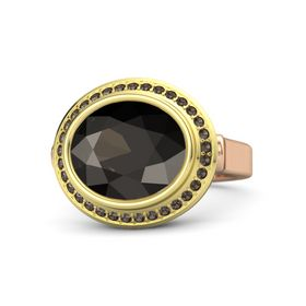 Oval Smoky Quartz 14K Rose Gold Ring with Smoky Quartz