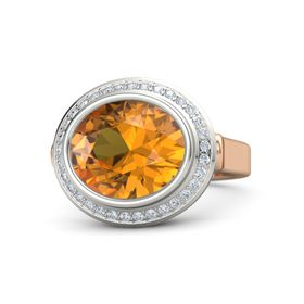 Oval Citrine 14K Rose Gold Ring with Diamond