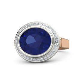Oval Sapphire 14K Rose Gold Ring with Diamond
