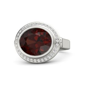 Oval Red Garnet 14K White Gold Ring with White Sapphire