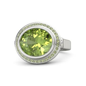 Oval Peridot 14K White Gold Ring with Peridot