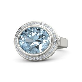 Oval Aquamarine 14K White Gold Ring with Diamond