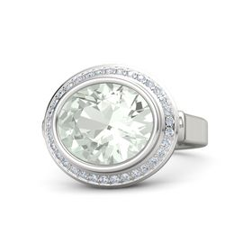 Oval Green Amethyst 14K White Gold Ring with Diamond