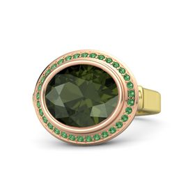 Oval Green Tourmaline 14K Yellow Gold Ring with Emerald