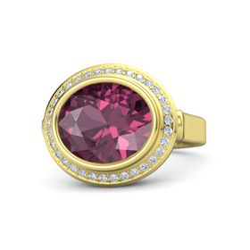 Oval Rhodolite Garnet 14K Yellow Gold Ring with Diamond