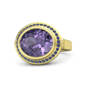 Oval Iolite 14K Yellow Gold Ring with Sapphire