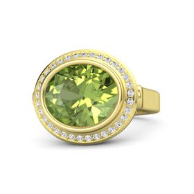 Oval Peridot 14K Yellow Gold Ring with White Sapphire