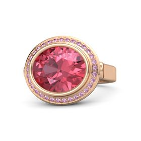 Oval Pink Tourmaline 18K Rose Gold Ring with Pink Sapphire
