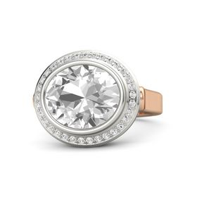 Oval Rock Crystal 18K Rose Gold Ring with White Sapphire