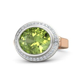 Oval Peridot 18K Rose Gold Ring with Diamond