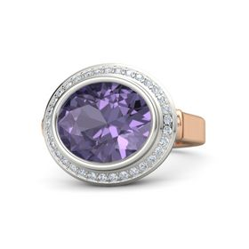 Oval Iolite 18K Rose Gold Ring with Diamond