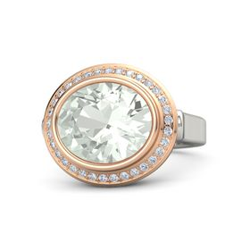 Oval Green Amethyst 18K White Gold Ring with Diamond