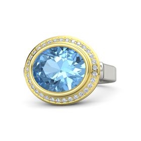 Oval Blue Topaz 18K White Gold Ring with Diamond