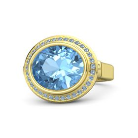 Oval Blue Topaz 18K Yellow Gold Ring with Blue Topaz