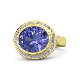 Oval Tanzanite 18K Yellow Gold Ring with Tanzanite