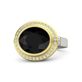 Oval Black Onyx Palladium Ring with White Sapphire