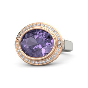 Oval Iolite Palladium Ring with Diamond