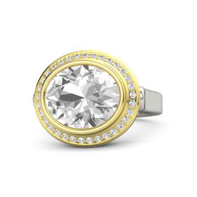 Oval Rock Crystal Palladium Ring with White Sapphire