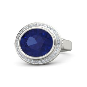 Oval Blue Sapphire Palladium Ring with Diamond