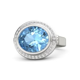 Oval Blue Topaz Palladium Ring with White Sapphire