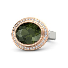 Oval Green Tourmaline Platinum Ring with Diamond
