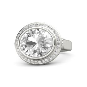 Oval Rock Crystal Platinum Ring with White Sapphire