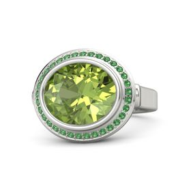 Oval Peridot Platinum Ring with Emerald