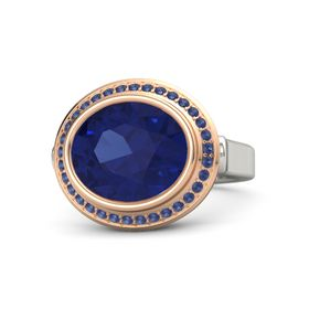 Oval Blue Sapphire Platinum Ring with Blue Sapphire