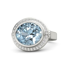 Oval Aquamarine Platinum Ring with White Sapphire