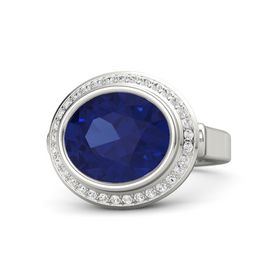 Oval Sapphire Platinum Ring with White Sapphire
