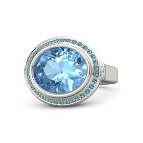 Oval Blue Topaz Platinum Ring with London Blue Topaz