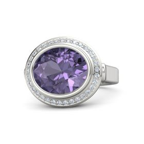 Oval Iolite Sterling Silver Ring with Diamond
