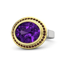 Oval Amethyst Sterling Silver Ring with Red Garnet