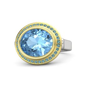 Oval Blue Topaz Sterling Silver Ring with London Blue Topaz