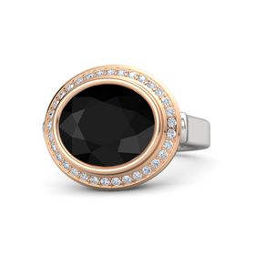 Oval Black Onyx Sterling Silver Ring with Diamond