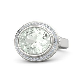 Oval Green Amethyst Sterling Silver Ring with Diamond