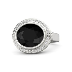 Oval Black Onyx Sterling Silver Ring with White Sapphire