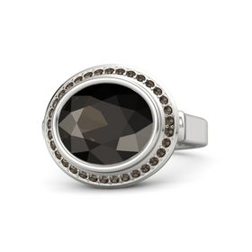 Oval Smoky Quartz Sterling Silver Ring with Smoky Quartz