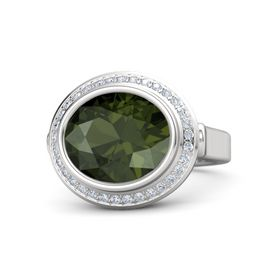 Oval Green Tourmaline Sterling Silver Ring with Diamond