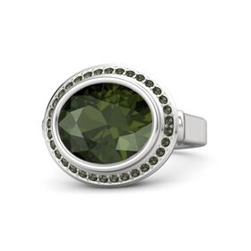 Oval Green Tourmaline Sterling Silver Ring with Green Tourmaline