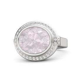 Oval Rose Quartz Sterling Silver Ring with White Sapphire