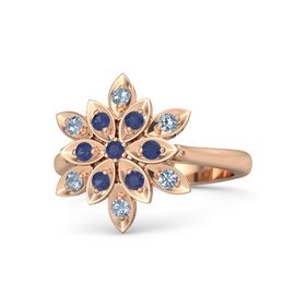 Round Blue Sapphire 14K Rose Gold Ring with Blue Sapphire and Blue Topaz