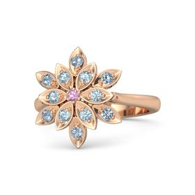 Round Pink Tourmaline 14K Rose Gold Ring with Aquamarine and Blue Topaz