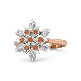 Round Fire Opal 14K Rose Gold Ring with Fire Opal and Diamond