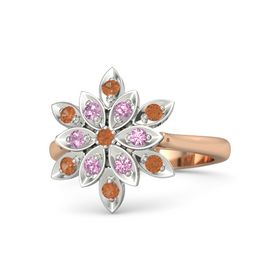 Round Fire Opal 14K Rose Gold Ring with Pink Tourmaline and Fire Opal