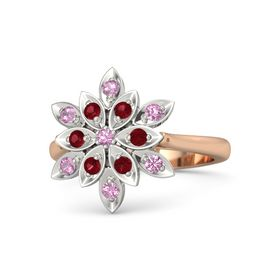 Round Pink Tourmaline 14K Rose Gold Ring with Ruby and Pink Tourmaline