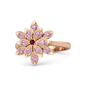 Round Ruby 14K Rose Gold Ring with Pink Tourmaline