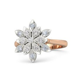 Round White Sapphire 14K Rose Gold Ring with White Sapphire and Diamond