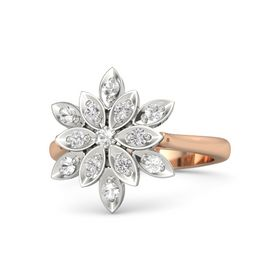 Round Rock Crystal 14K Rose Gold Ring with White Sapphire and Rock Crystal